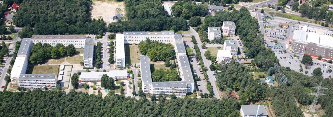 """Luftaufnahme vom Wohngebiet """"Am Marienberg"""" der WBG """"Aufbau Strausberg"""