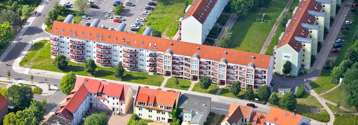 """Luftaufnahme vom Wohngebiet """"Müncheberger Straße"""" der WBG """"Aufbau Strausberg"""