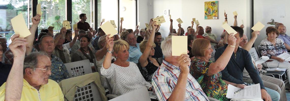 """Abstimmung auf der Vertreterversammlung bei der WBG """"Aufbau"""" Strausberg"""