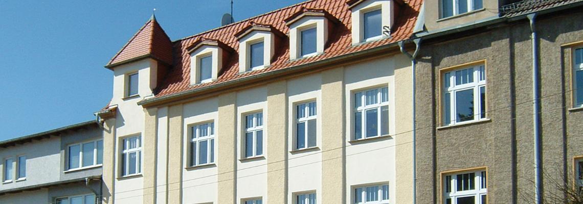 """Detailaufnahme des Hauses vom Wohngebiet """"Walkmühlenstraße"""" der WBG """"Aufbau Strausberg"""
