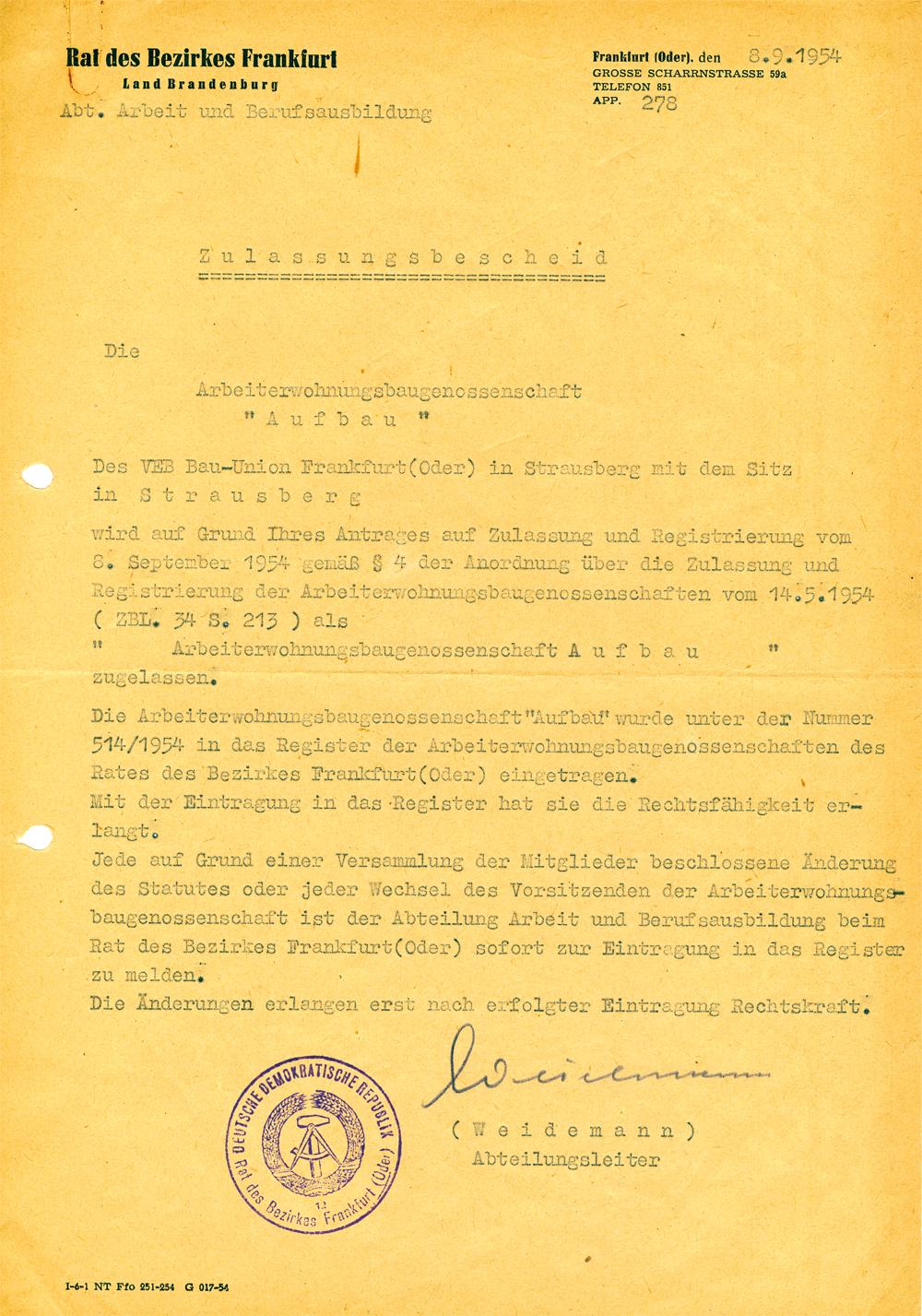 """Abbildung des Zulassungsbescheides der Arbeiterwohnungsbaugenossenschaft """"Aufbau"""""""