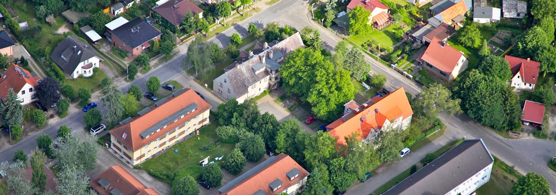 Luftaufnahme vom Wohngebiet Schillerstraße/Friedrich-Ebert-Straße