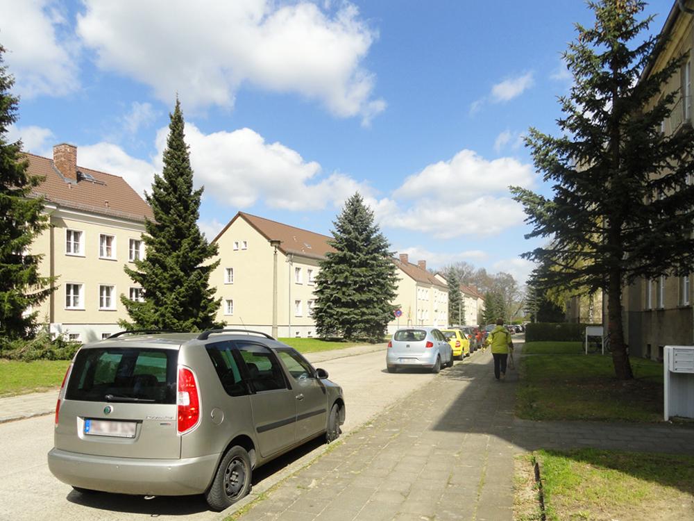 Eine Straße im Wohngebiet Seehaus-Siedlung