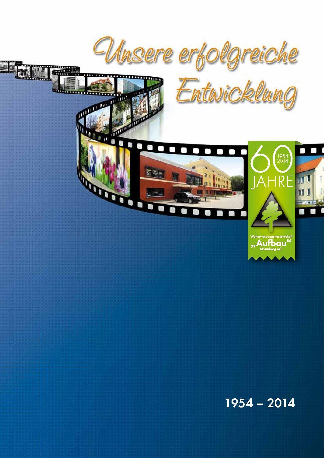 """Titelseite der Chronik 1954–2014 der WBG """"Aufbau"""" Strausberg"""