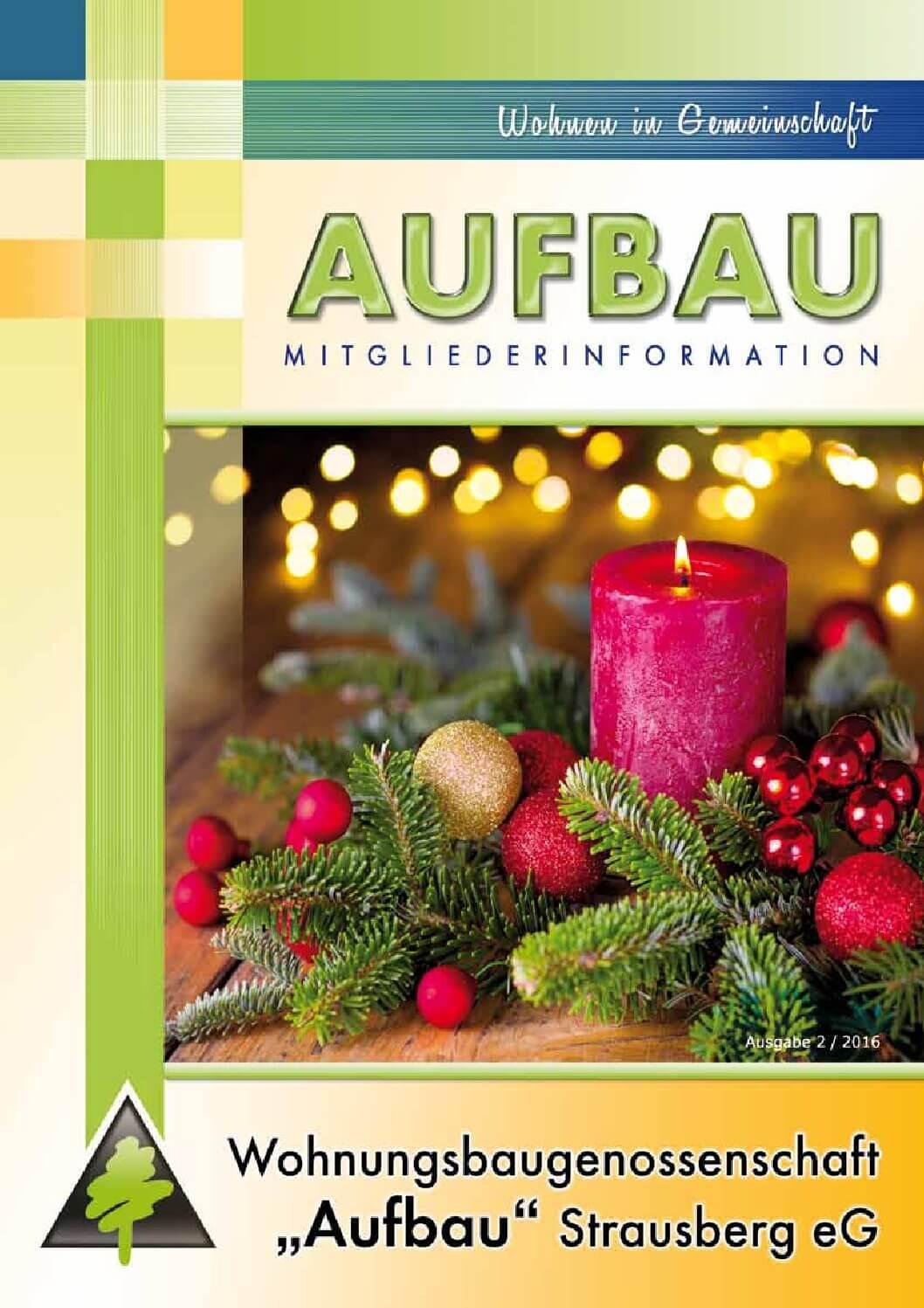 """Titelbild Mitgliederinformation Ausgabe 2/2016 der WBG """"Aufbau"""" Strausberg eG"""