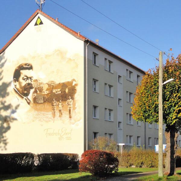 Bild Friedrich Ebert am Giebel des Wohnhauses