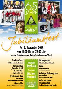 "WBG ""Aufbau"" Strausberg: Plakat zum Jubiläumsfest am 6. September 2019"