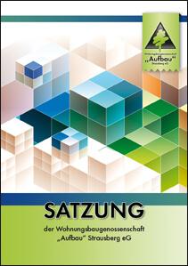 """Titelseite der Satzung 2019 der Wohnungsbaugenossenschaft """"Aufbau"""" Strausberg."""