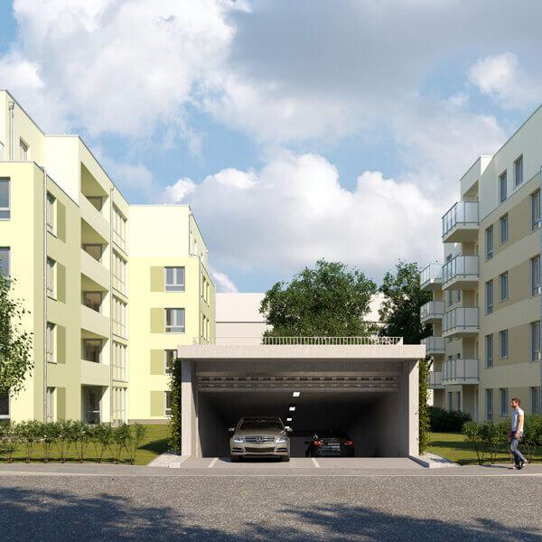 Neubau Quartier am Märchenwald, Ansicht der Einfahrt zur Tiefgarage