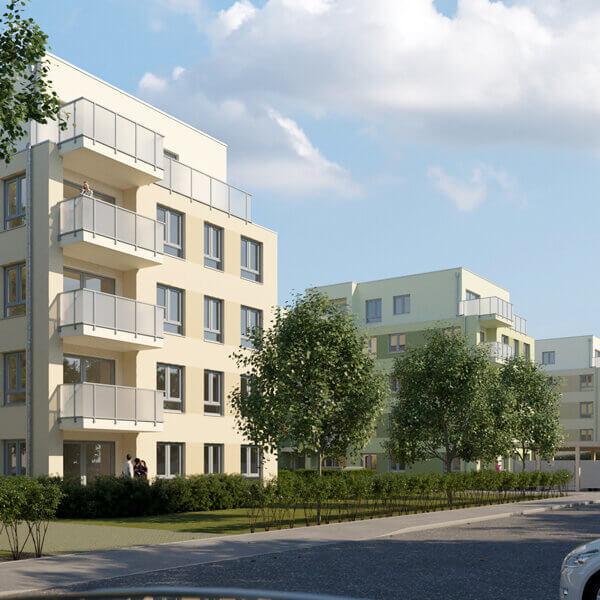 Neubau Quartier am Märchenwald, Ansicht Süd-Südwest