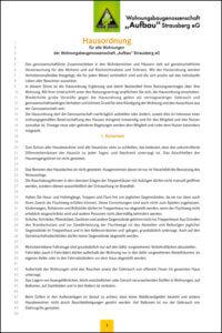 """Hausordnung der WBG """"Aufbau"""" Strausberg, Version 2020"""